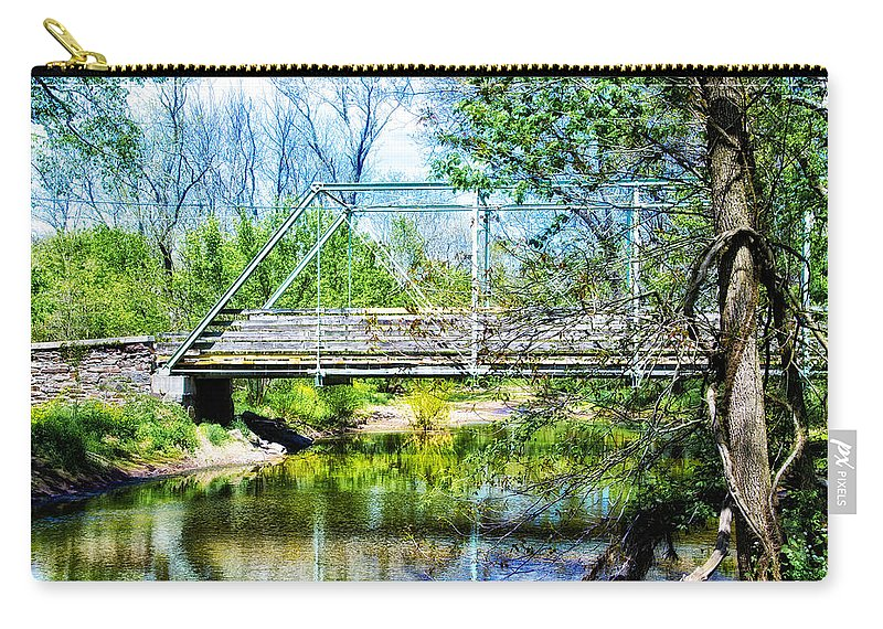 Steel Carry-all Pouch featuring the photograph Steel Span Bridge Gettysburg by Bill Cannon