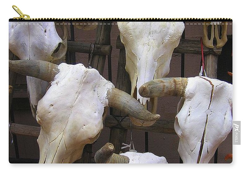 New Mexico Carry-all Pouch featuring the photograph Steer Skulls - New Mexico by Dora Sofia Caputo Photographic Design and Fine Art