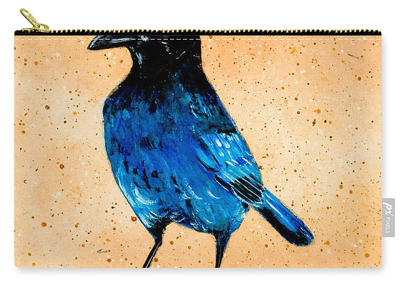Carry-all Pouch featuring the painting Stellar Jay by Stefanie Forck