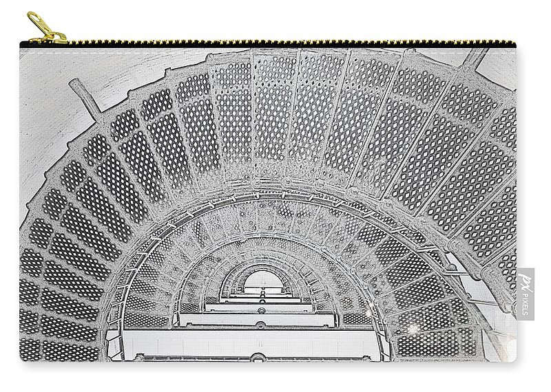 Stairwell Carry-all Pouch featuring the photograph Stencil Up Lighthouse Stairs by Meandering Photography