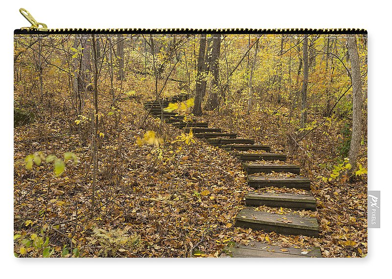 Fall Carry-all Pouch featuring the photograph Step Trail In Woods 16 by John Brueske