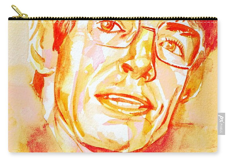 Stephen Carry-all Pouch featuring the painting Stephen Hawking Portrait by Fabrizio Cassetta