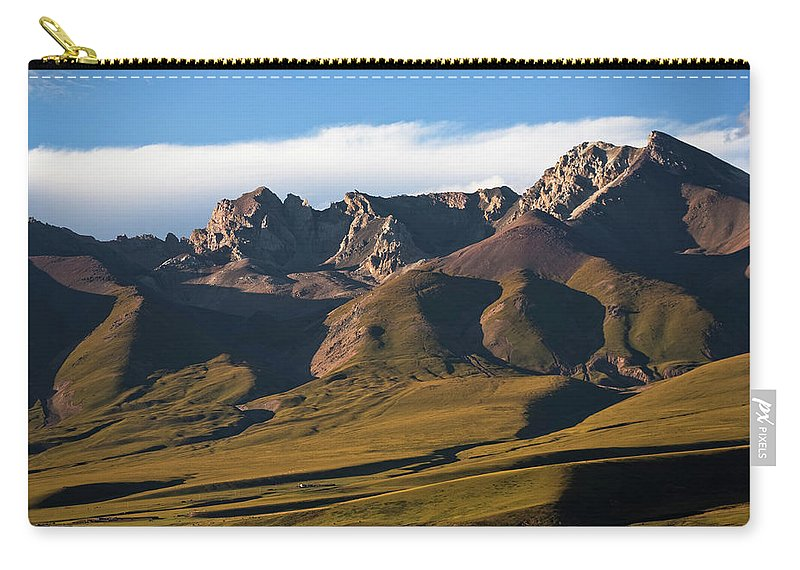 Scenics Carry-all Pouch featuring the photograph Steppe Valley With Surrounding Peaks by Merten Snijders