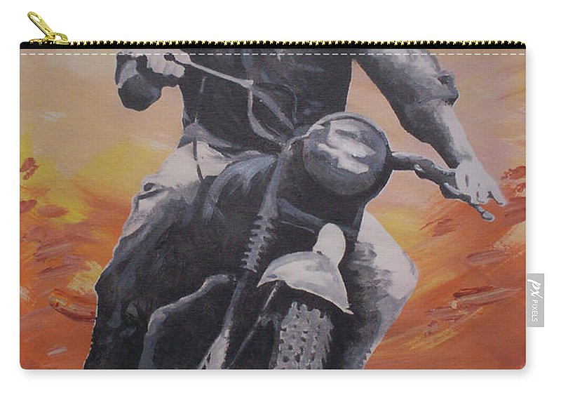 Steve Mcqueen Carry-all Pouch featuring the painting Steve Mcqueen by Gary Hogben