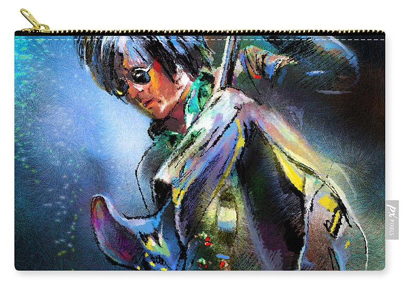 Music Carry-all Pouch featuring the painting Steve Stevens by Miki De Goodaboom