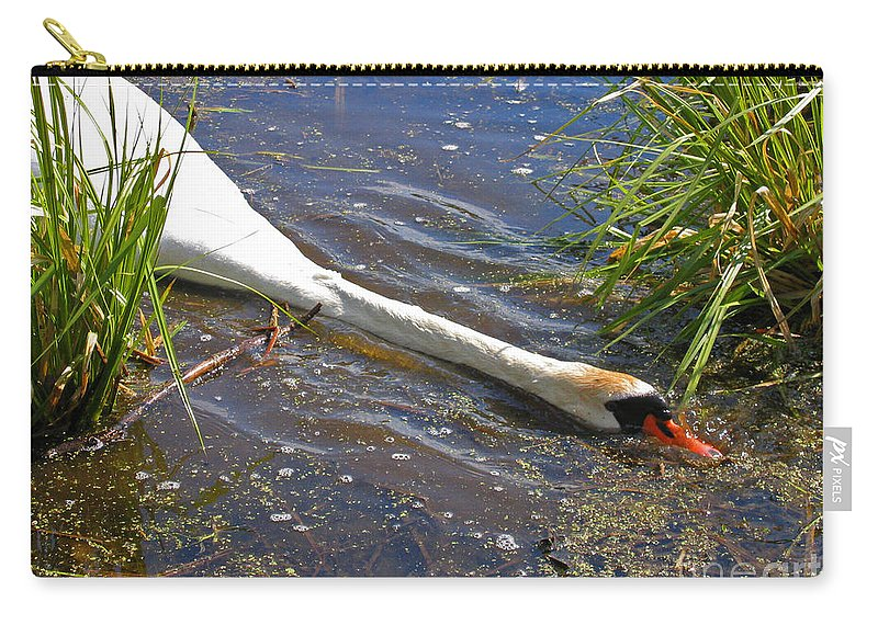 Swan Carry-all Pouch featuring the photograph Sticking His Neck Out by Ann Horn
