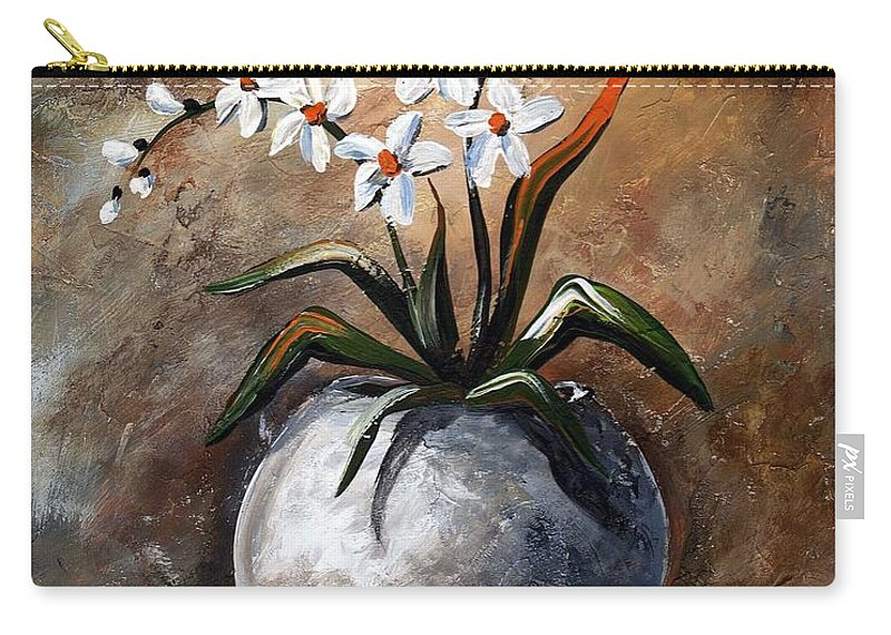 Art Carry-all Pouch featuring the painting Still Life 049 by Voros Edit