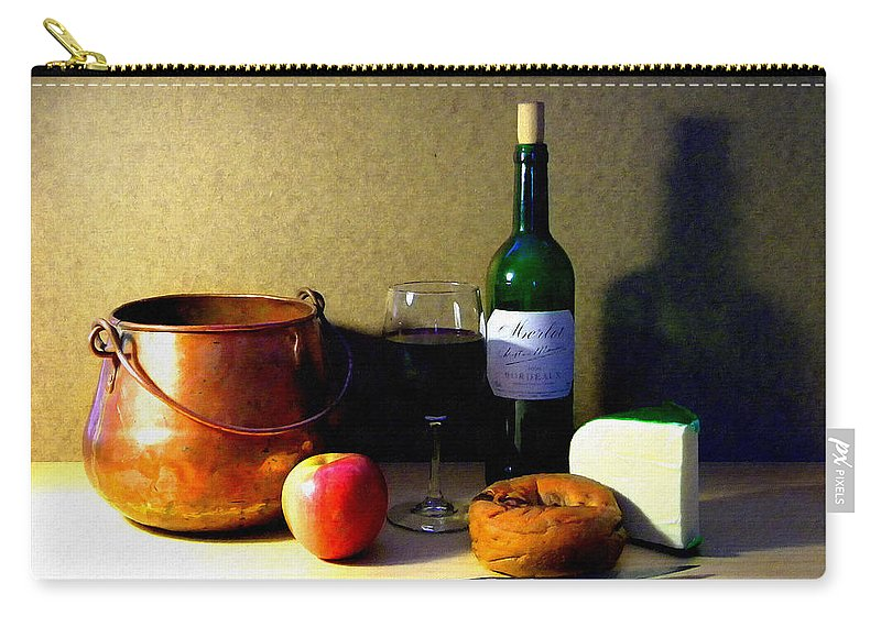 Still Life Carry-all Pouch featuring the photograph Still Life Merlot And Copper Pot by Frank Wilson