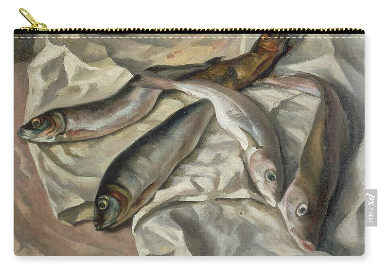 Dead Carry-all Pouch featuring the painting Still Life Of Fish, 1928 by Roger Eliot Fry