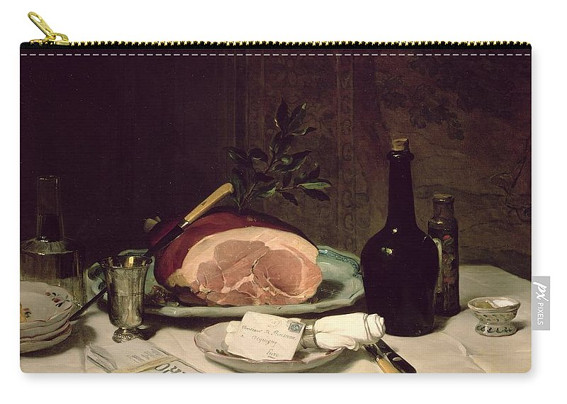Nature Morte; Letter; Serviette; Napkin; Ham; Newspaper; Le Figaro; Knife; Bottle; Food; Decanter Carry-all Pouch featuring the painting Still Life by Philippe Rousseau