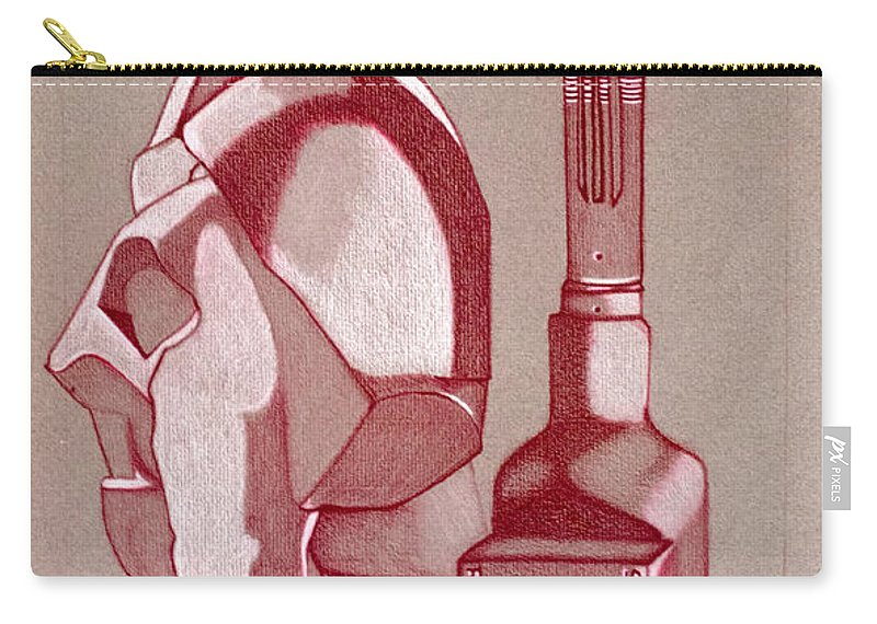 Red Carry-all Pouch featuring the drawing Still Life by Teri Schuster