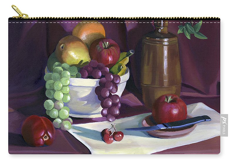 Fine Art Carry-all Pouch featuring the painting Still Life with Apples by Nancy Griswold