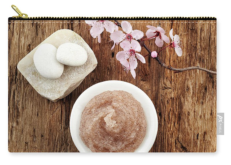 Mineral Carry-all Pouch featuring the photograph Still Life With Cherry Blossom, Salt by Gspictures