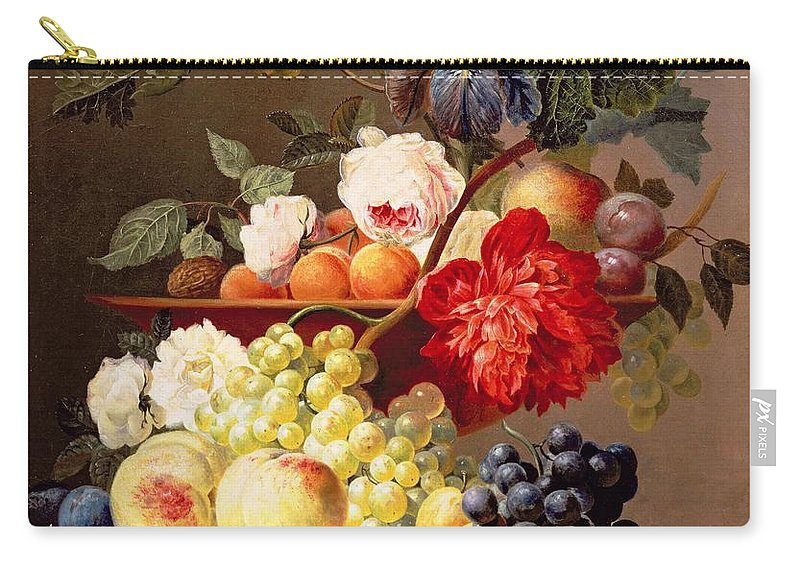 Plums Carry-all Pouch featuring the photograph Still Life With Fruit And Flowers by Anthony Obermann