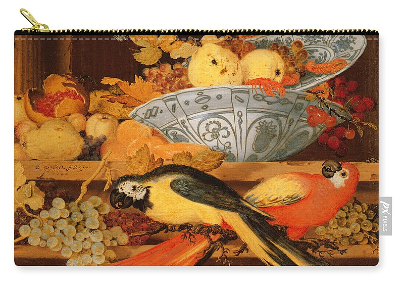 Parrot Carry-all Pouch featuring the painting Still Life With Fruit And Macaws, 1622 by Balthasar van der Ast