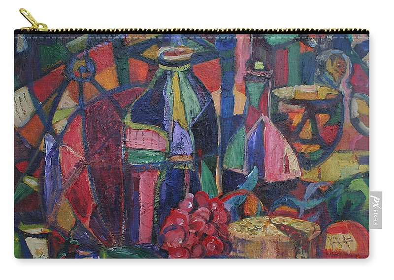 Still Life Paintings Carry-all Pouch featuring the painting Still Life With Grapes by Avonelle Kelsey