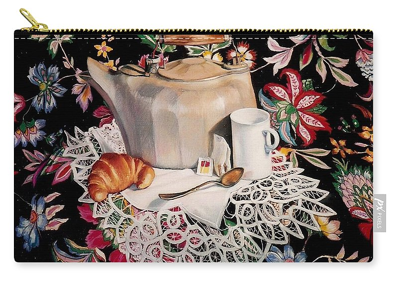 Stillife Carry-all Pouch featuring the pastel Still life with lace by Constance Drescher