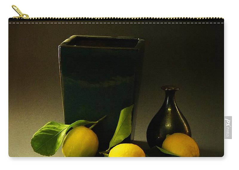 Still Life With Lemons Carry-all Pouch featuring the photograph Still Life With Lemons by Frank Wilson