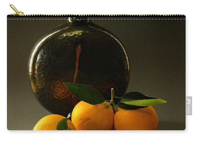 Still Life With Oranges Carry-all Pouch featuring the photograph Still Life With Oranges by Frank Wilson