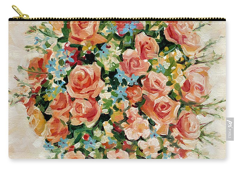 Flowers Carry-all Pouch featuring the painting Still Life With Roses by Iliyan Bozhanov