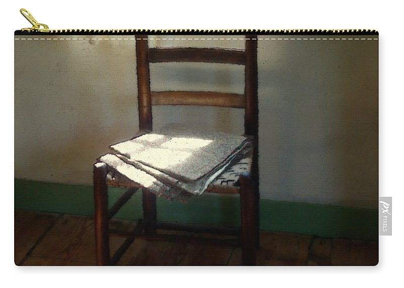 Chair Carry-all Pouch featuring the painting Still Life With Straight Chair by RC DeWinter