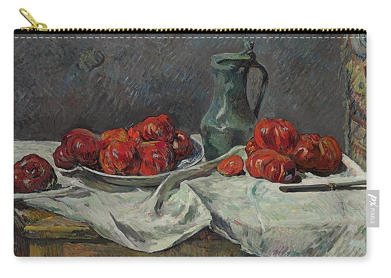 Still Life; Tomatoes; Fruit; Red; Tomato; Jug; Pewter; Post Impressionist; Post-impressionist; Food; Drink; Table; Tablecloth Carry-all Pouch featuring the painting Still Life With Tomatoes by Paul Gaugin