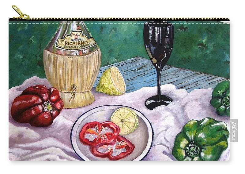 Still Life With Wine And Capsicum Carry-all Pouch featuring the painting Wine And Capsicum by Caroline Street