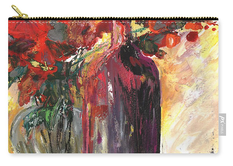 Flowers Carry-all Pouch featuring the painting Still Live With Flowers Vase And Black Bottle by Miki De Goodaboom