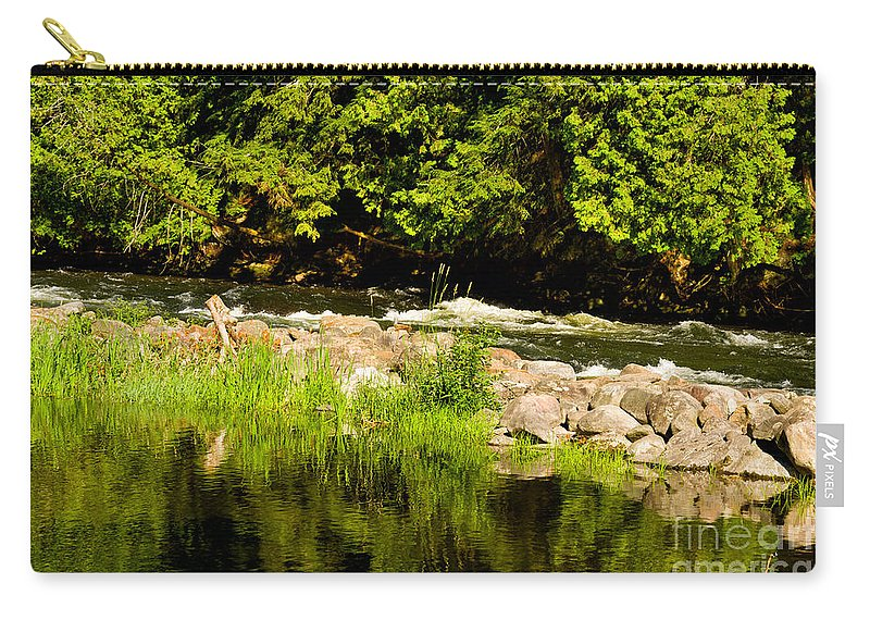 Gull Carry-all Pouch featuring the photograph Still Pool And Fast River by Les Palenik
