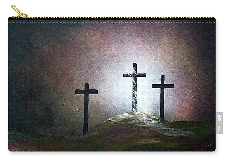Jesus Carry-all Pouch featuring the painting Still The Light by Eloise Schneider