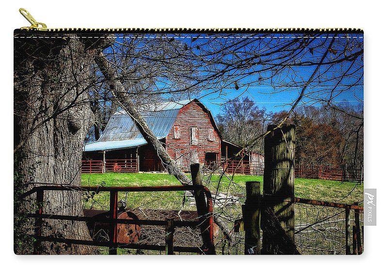 Reid Callaway Red Barn Carry-all Pouch featuring the photograph Still Useful Rustic Red Barn Art Oconee County by Reid Callaway