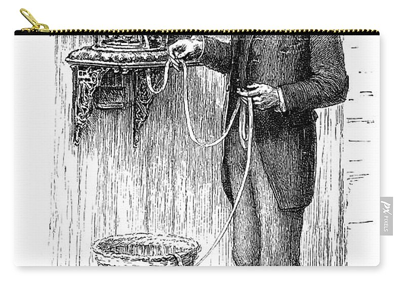 1885 Carry-all Pouch featuring the drawing Stock Ticker, 1885 by Granger