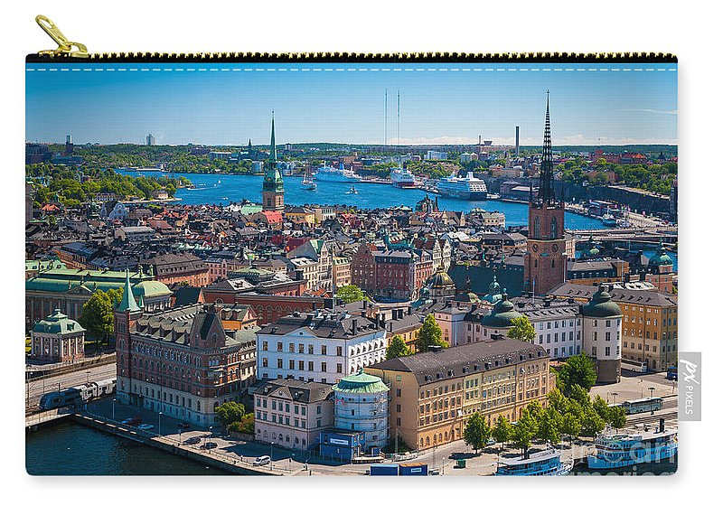 Architectural Carry-all Pouch featuring the photograph Stockholm From Above by Inge Johnsson