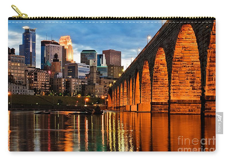 Minneapolis Skyline Carry-all Pouch featuring the photograph Stone Arch Bridge by Joe Mamer