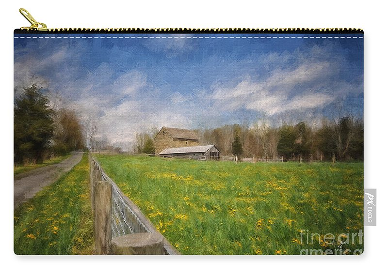 Barn Carry-all Pouch featuring the photograph Stone Barn On A Spring Morning by Lois Bryan