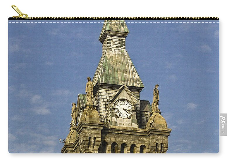 Religion Carry-all Pouch featuring the photograph Stone Clock Tower by Eric Swan