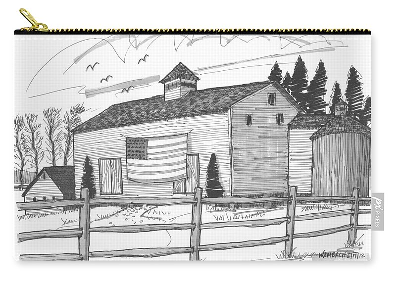 Barn Carry-all Pouch featuring the drawing Stone Ridge Barn With Flag by Richard Wambach