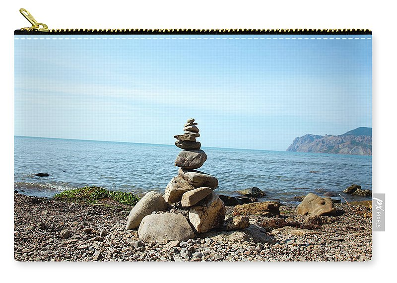 Heap Carry-all Pouch featuring the photograph Stone Tower On The Beach by Mashabuba