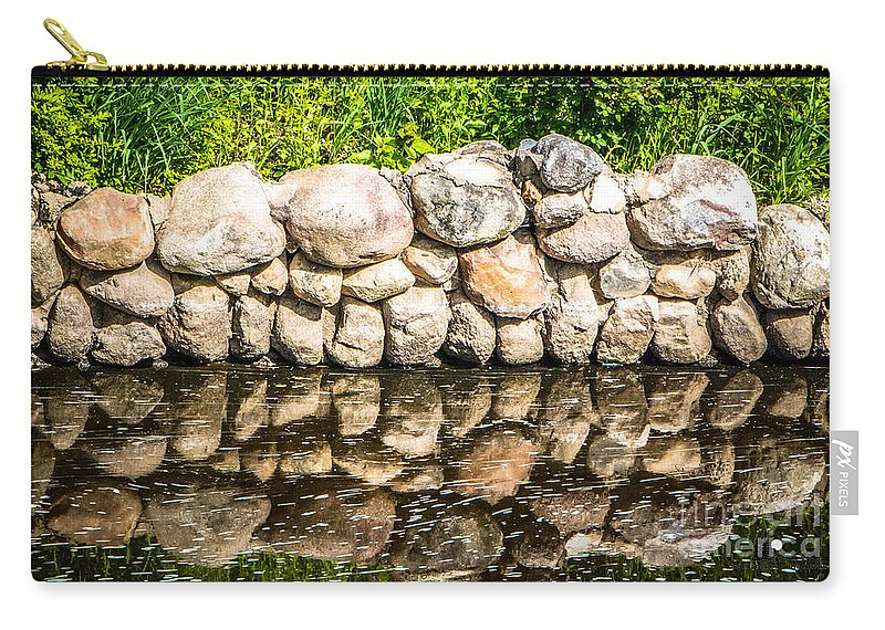 Eaton Rapids Carry-all Pouch featuring the photograph Stone Wall Reflection by Grace Grogan