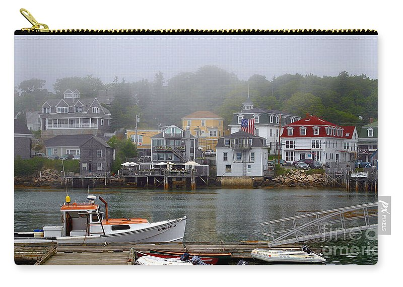 Flags Carry-all Pouch featuring the photograph Stonington Harbor 2 by Laura Mace Rand