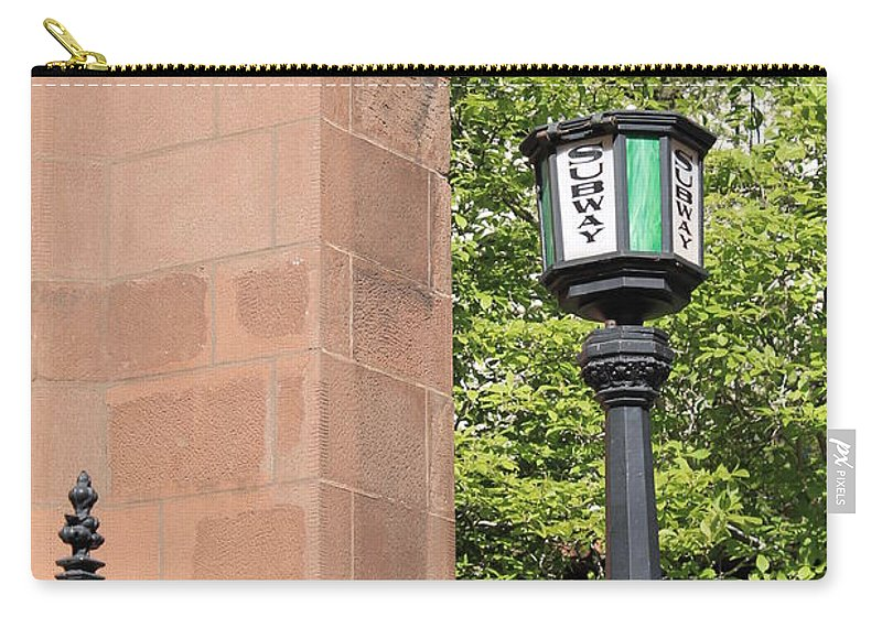 Subway Station Carry-all Pouch featuring the photograph Stop Here by Catie Canetti