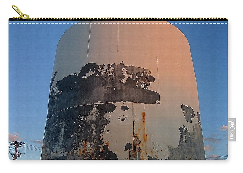 Rusting Storage Container Coolidge Arizona Moon Dusk Carry-all Pouch featuring the photograph Storage Container Moon Coolidge Arizona 2004 by David Lee Guss