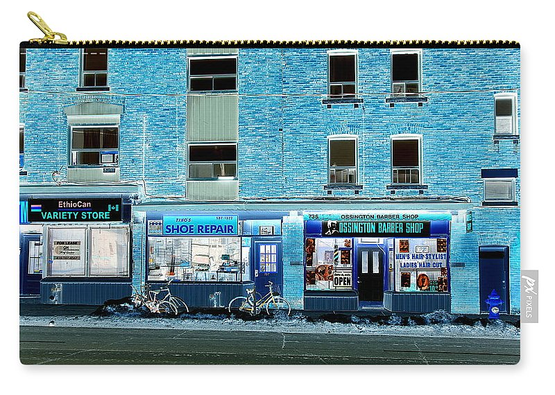 Stores Carry-all Pouch featuring the photograph Stores On Ossington In Blue by Valentino Visentini