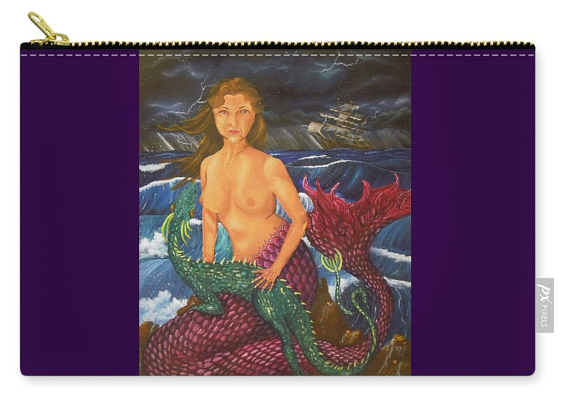 Mermaid Carry-all Pouch featuring the painting Storm And Peace by Nicole Angell
