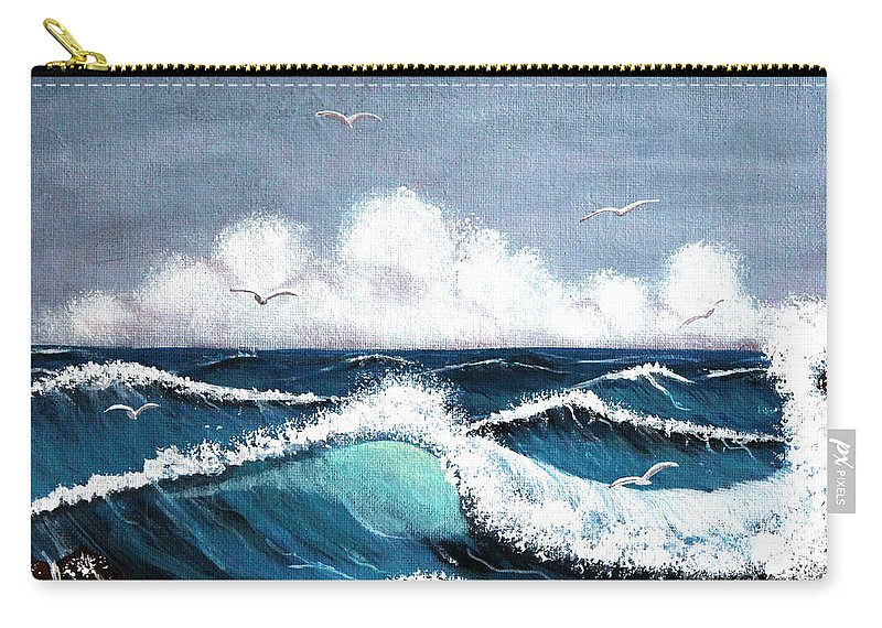 Storm At Sea Carry-all Pouch featuring the painting Storm At Sea by Barbara Griffin