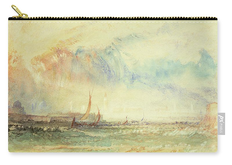 22 2x32cm Carry-all Pouch featuring the painting Storm At Sunset, Venice, C.1840 by Joseph Mallord William Turner