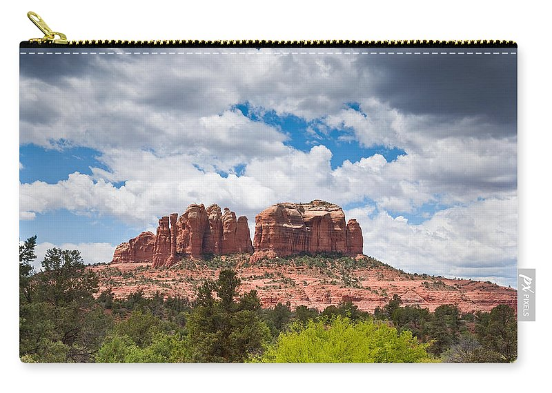 Arizona Carry-all Pouch featuring the photograph Storm Clouds Over Cathedral Rocks by Jeff Goulden