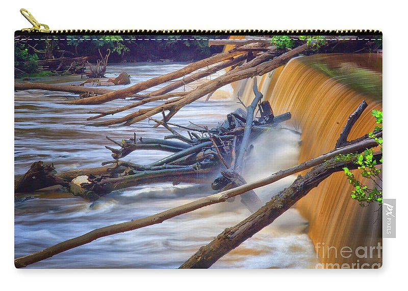 Waterfall Carry-all Pouch featuring the photograph Storm Debris by Scott Hervieux