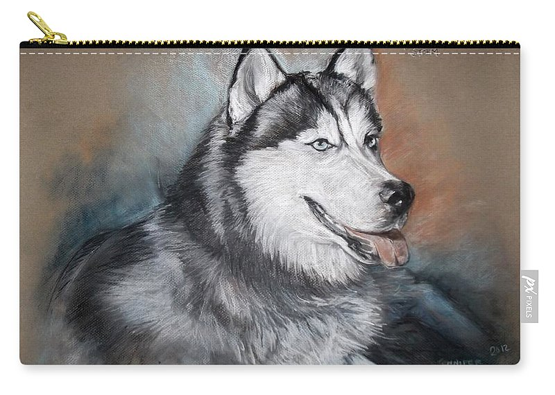 Husky Dog Carry-all Pouch featuring the drawing Storm by Jennifer Christenson