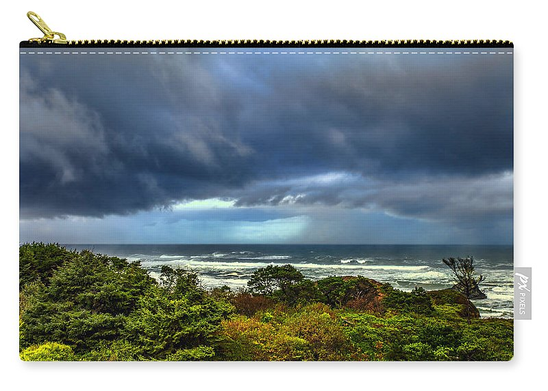 Seal Rock Carry-all Pouch featuring the photograph Storm On Oregon Coast by Diana Powell